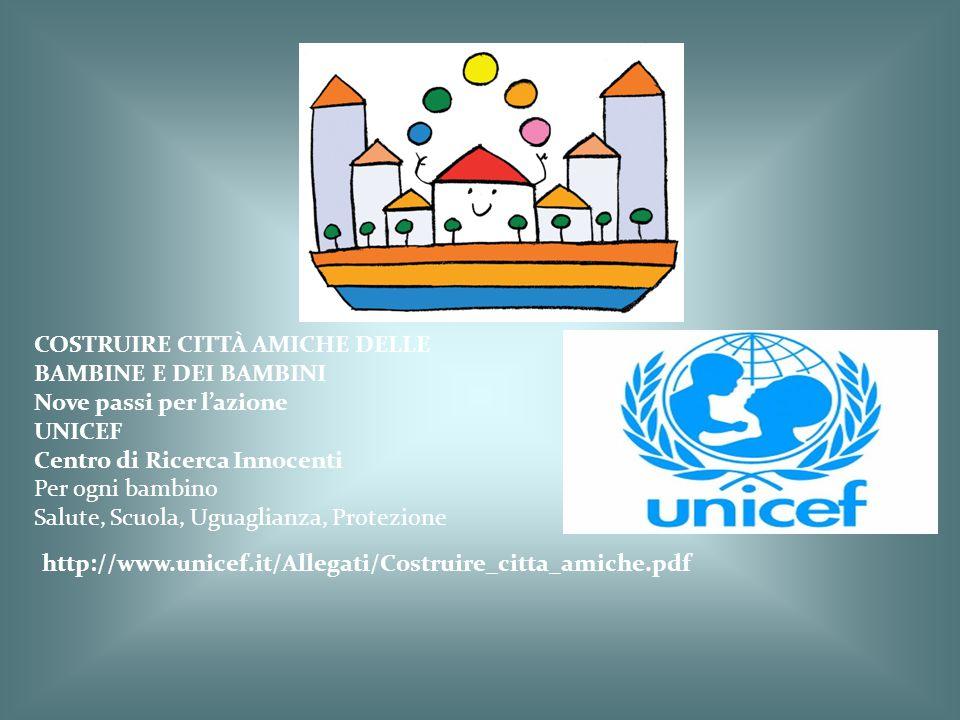 COSTRUIRE CITTÀ AMICHE DELLE BAMBINE E DEI BAMBINI Nove passi per l'azione UNICEF Centro di Ricerca Innocenti Per ogni bambino Salute, Scuola, Uguagli