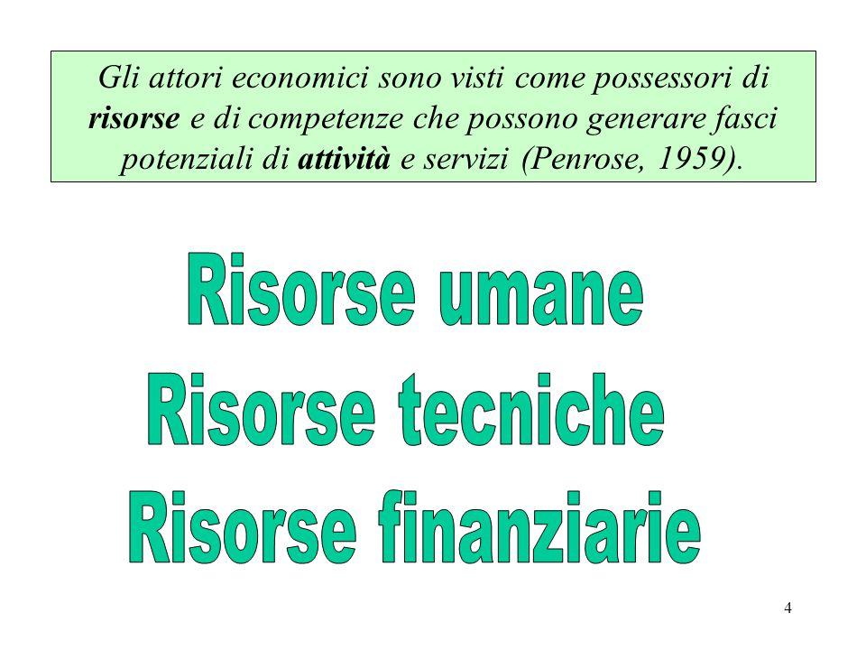 4 Gli attori economici sono visti come possessori di risorse e di competenze che possono generare fasci potenziali di attività e servizi (Penrose, 1959).