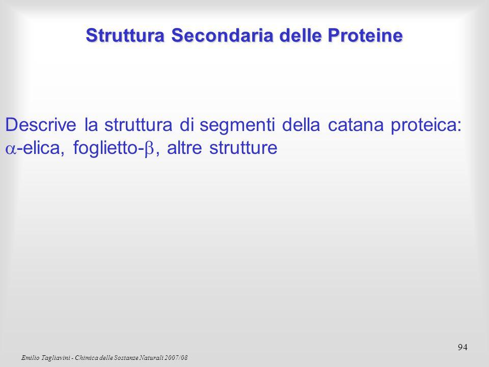 Emilio Tagliavini - Chimica delle Sostanze Naturali 2007/08 95 L'  -Elica è stabilizzata da legami idrogeno Proteine: l'  -Elica