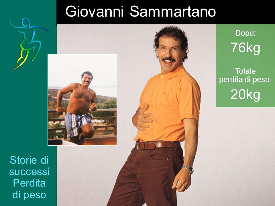 Storie di successi Perdita di peso Giovanni Sammartano Dopo: 76kg Totale perdita di peso: 20kg