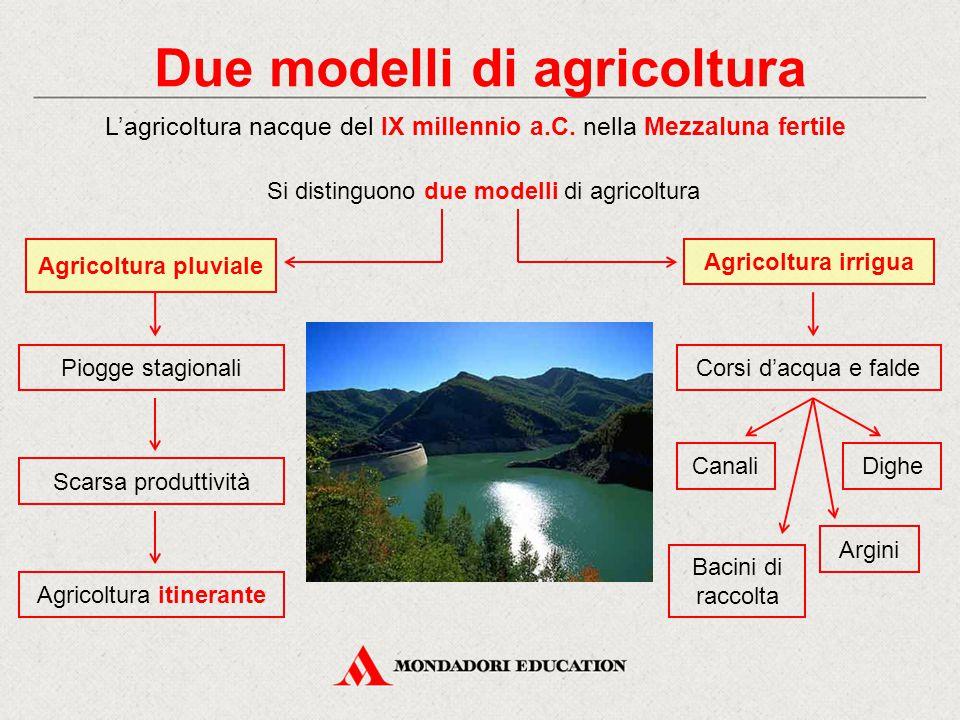 Due modelli di agricoltura Dighe Agricoltura irrigua Corsi d'acqua e falde Bacini di raccolta L'agricoltura nacque del IX millennio a.C.