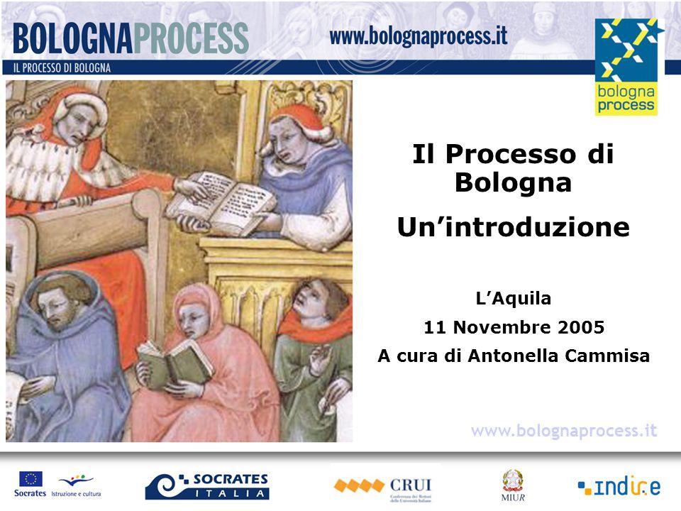 Il Processo di Bologna Un'introduzione L'Aquila 11 Novembre 2005 A cura di Antonella Cammisa www.bolognaprocess.i t