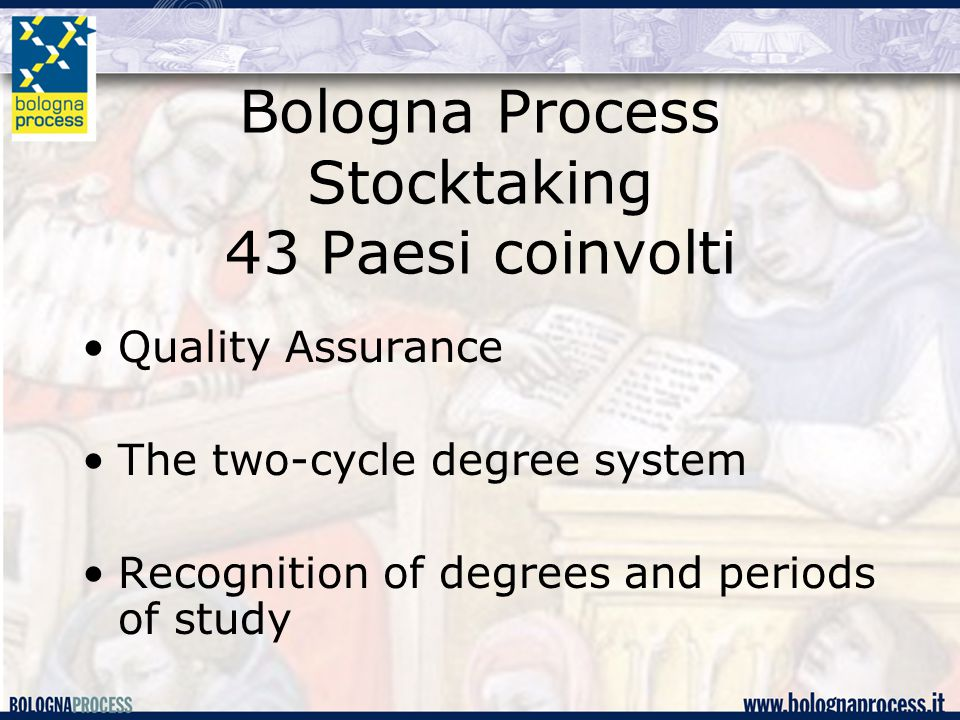 Bologna Process Stocktaking 43 Paesi coinvolti Quality Assurance The two-cycle degree system Recognition of degrees and periods of study