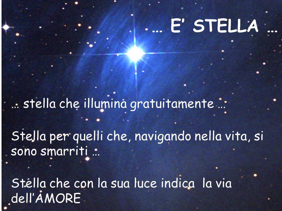 … E' STELLA … … stella che illumina gratuitamente … Stella per quelli che, navigando nella vita, si sono smarriti … Stella che con la sua luce indica