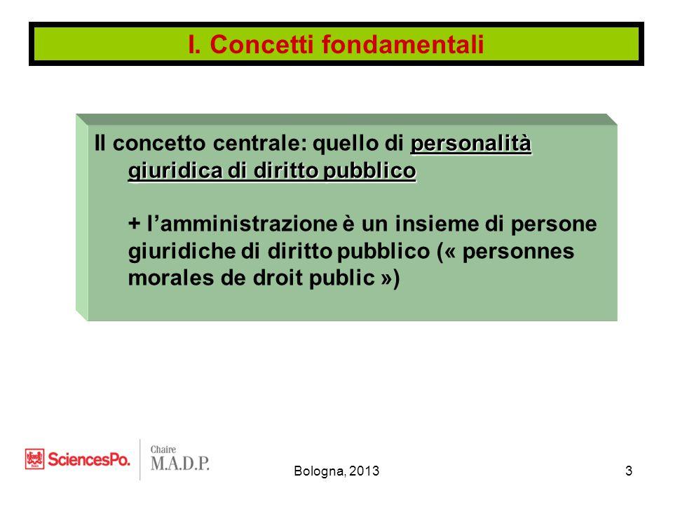 Bologna, 20133 personalità giuridica di diritto pubblico Il concetto centrale: quello di personalità giuridica di diritto pubblico + l'amministrazione è un insieme di persone giuridiche di diritto pubblico (« personnes morales de droit public ») I.