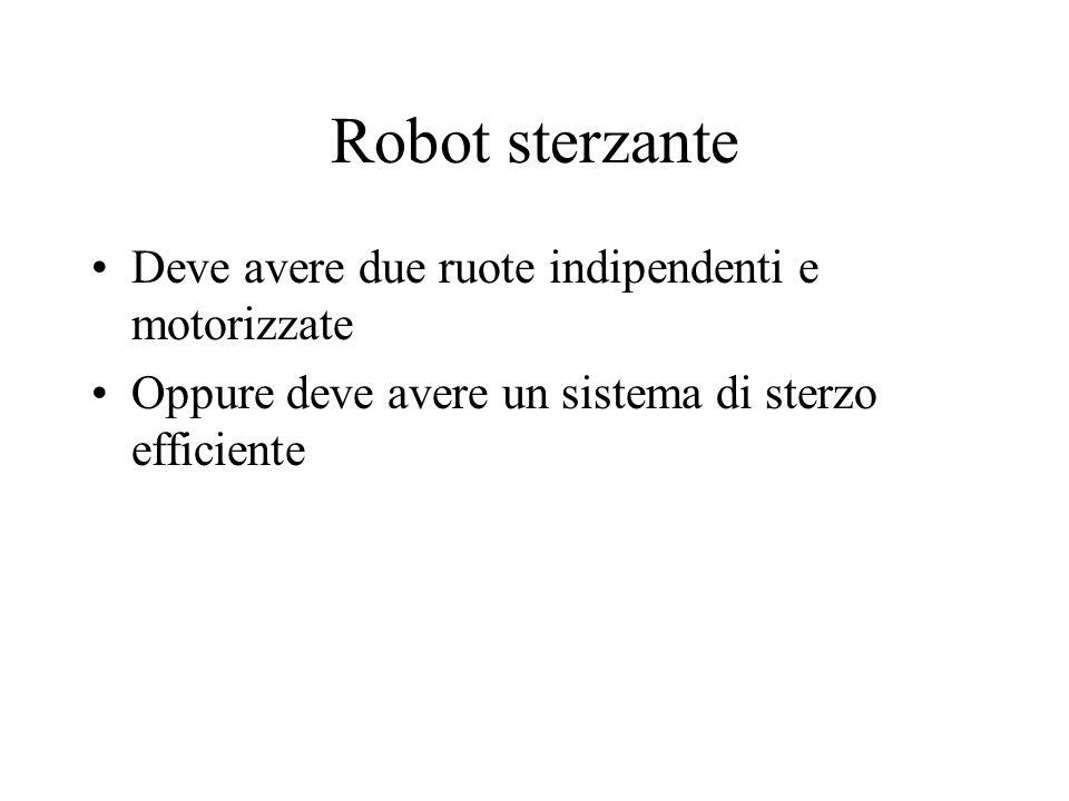 Robot sterzante Deve avere due ruote indipendenti e motorizzate Oppure deve avere un sistema di sterzo efficiente