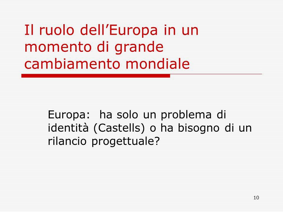 10 Il ruolo dell'Europa in un momento di grande cambiamento mondiale Europa: ha solo un problema di identità (Castells) o ha bisogno di un rilancio progettuale