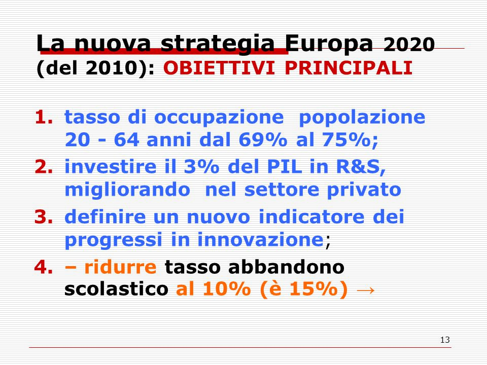 13 La nuova strategia Europa 2020 (del 2010): OBIETTIVI PRINCIPALI 1.tasso di occupazione popolazione 20 - 64 anni dal 69% al 75%; 2.investire il 3% del PIL in R&S, migliorando nel settore privato 3.definire un nuovo indicatore dei progressi in innovazione; 4.– ridurre tasso abbandono scolastico al 10% (è 15%) →