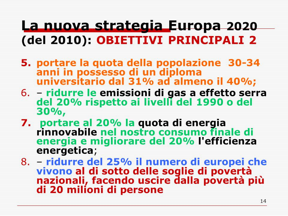 14 La nuova strategia Europa 2020 (del 2010): OBIETTIVI PRINCIPALI 2 5.portare la quota della popolazione 30-34 anni in possesso di un diploma universitario dal 31% ad almeno il 40%; 6.– ridurre le emissioni di gas a effetto serra del 20% rispetto ai livelli del 1990 o del 30%, 7.