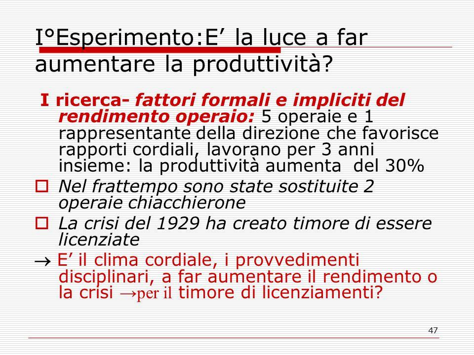 47 I°Esperimento:E' la luce a far aumentare la produttività.