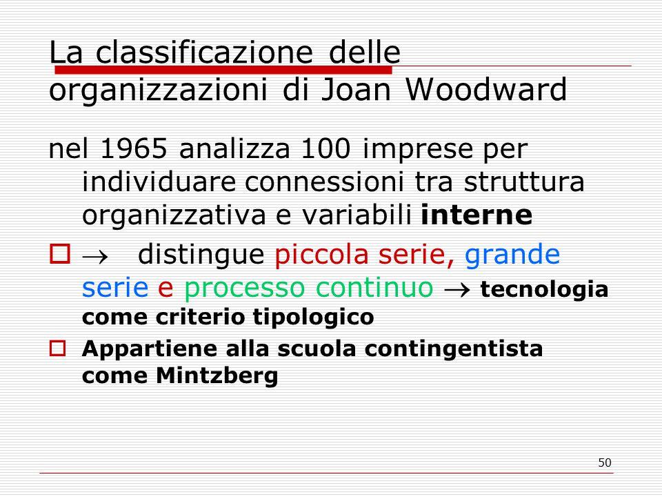 50 La classificazione delle organizzazioni di Joan Woodward nel 1965 analizza 100 imprese per individuare connessioni tra struttura organizzativa e variabili interne   distingue piccola serie, grande serie e processo continuo  tecnologia come criterio tipologico  Appartiene alla scuola contingentista come Mintzberg