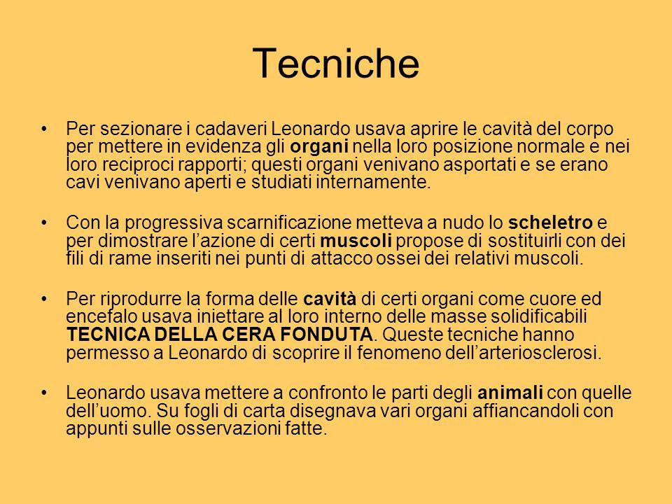 Tecniche Per sezionare i cadaveri Leonardo usava aprire le cavità del corpo per mettere in evidenza gli organi nella loro posizione normale e nei loro reciproci rapporti; questi organi venivano asportati e se erano cavi venivano aperti e studiati internamente.