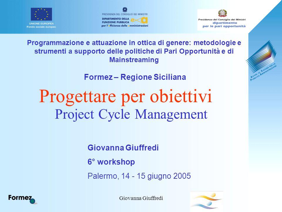 Giovanna Giuffredi Programmazione e attuazione in ottica di genere: metodologie e strumenti a supporto delle politiche di Pari Opportunità e di Mainst