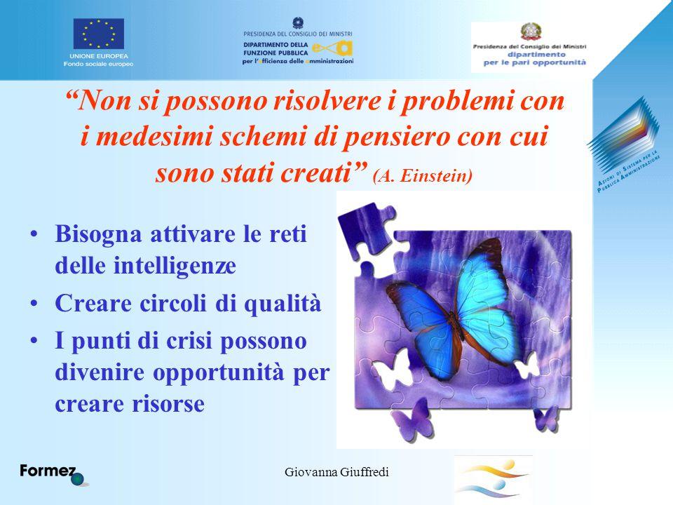 """Giovanna Giuffredi """"Non si possono risolvere i problemi con i medesimi schemi di pensiero con cui sono stati creati"""" (A. Einstein) Bisogna attivare le"""