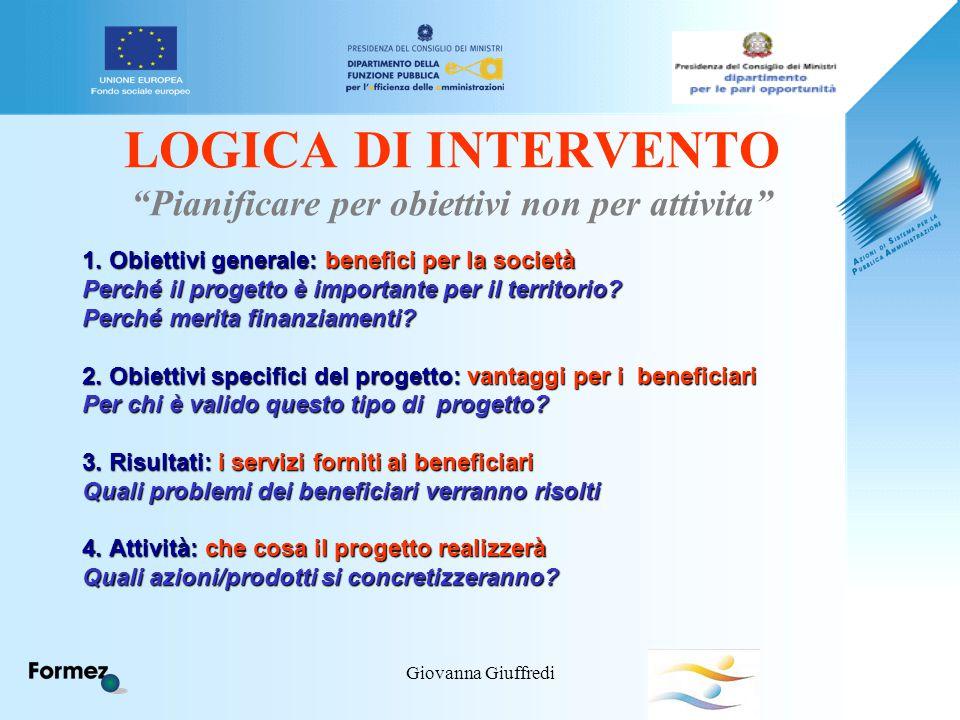 """Giovanna Giuffredi LOGICA DI INTERVENTO """"Pianificare per obiettivi non per attivita"""" 1. Obiettivi generale: benefici per la società Perché il progetto"""
