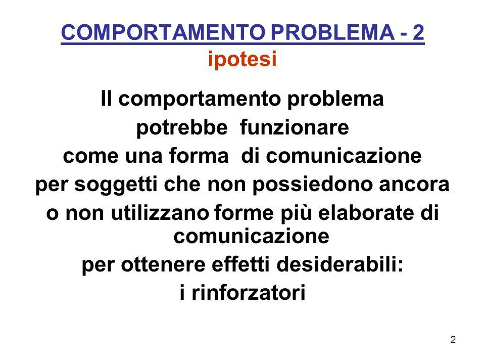 2 COMPORTAMENTO PROBLEMA - 2 ipotesi Il comportamento problema potrebbe funzionare come una forma di comunicazione per soggetti che non possiedono ancora o non utilizzano forme più elaborate di comunicazione per ottenere effetti desiderabili: i rinforzatori