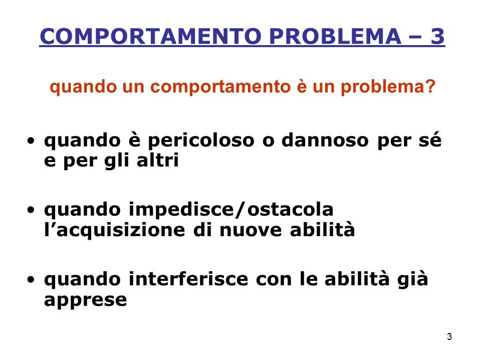 3 COMPORTAMENTO PROBLEMA – 3 quando un comportamento è un problema.