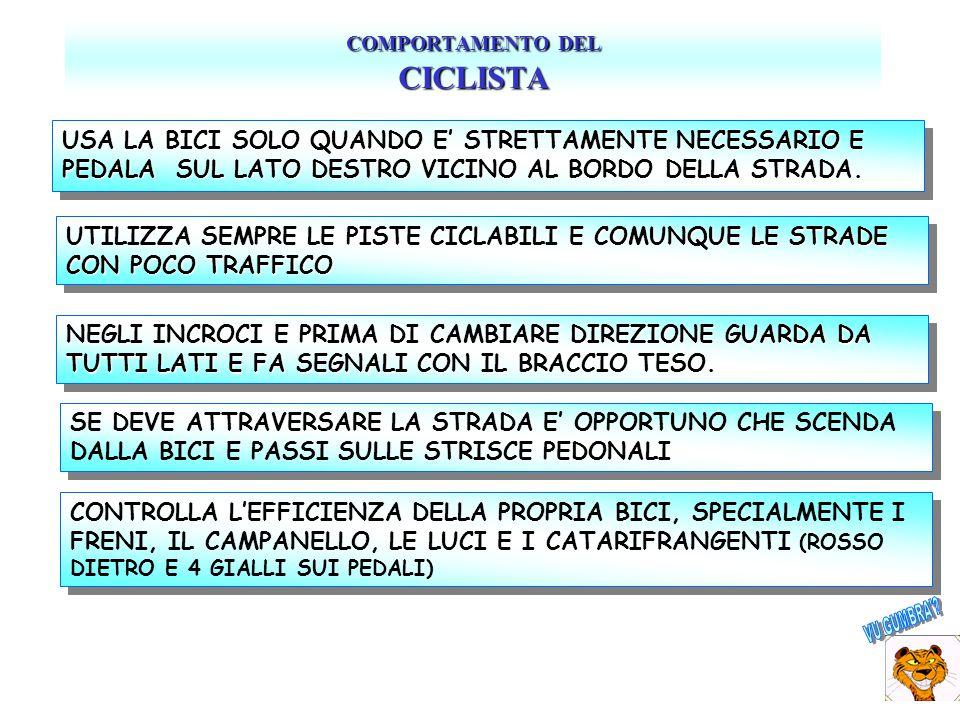 COMPORTAMENTO DEL CICLISTA pagina 2 DI SERA CIRCOLA SOLO SE STRETTAMENTE NECESSARIO E SOLO CON LUCI EFFICIENTI (NO MOUNTAIN BIKE SENZA).