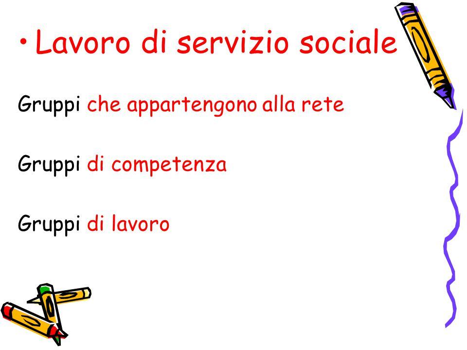 Lavoro di servizio sociale Gruppi che appartengono alla rete Gruppi di competenza Gruppi di lavoro