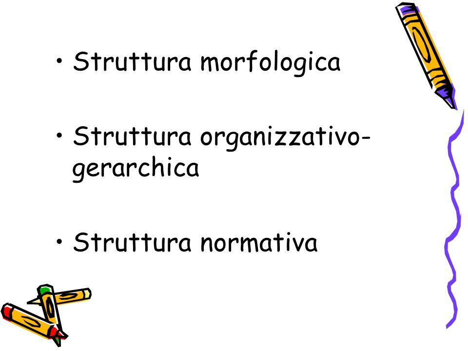 Struttura morfologica Numero dei componenti Frequenza degli incontri Luogo, sesso, età,……(sociodemografiche)