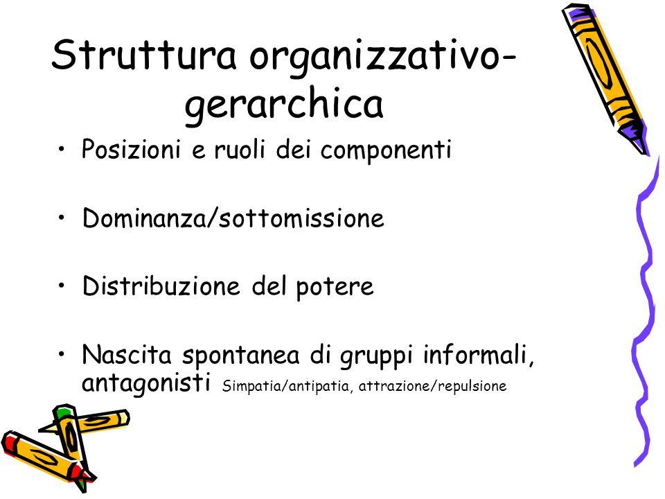 Struttura organizzativo- gerarchica Posizioni e ruoli dei componenti Dominanza/sottomissione Distribuzione del potere Nascita spontanea di gruppi informali, antagonisti Simpatia/antipatia, attrazione/repulsione