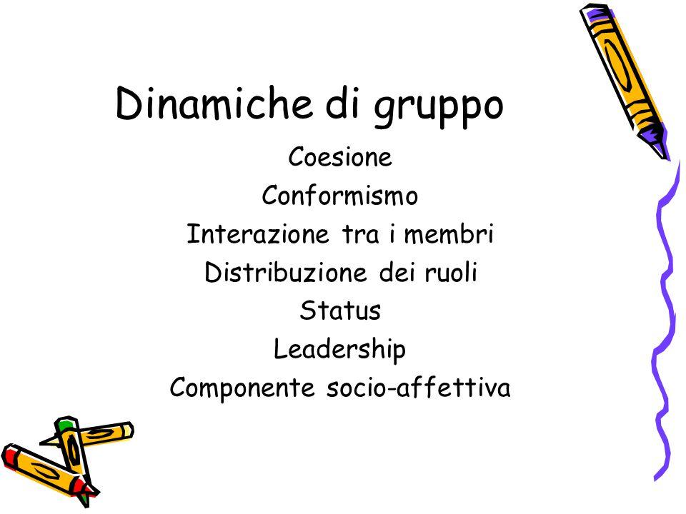 Dinamiche di gruppo Coesione Conformismo Interazione tra i membri Distribuzione dei ruoli Status Leadership Componente socio-affettiva