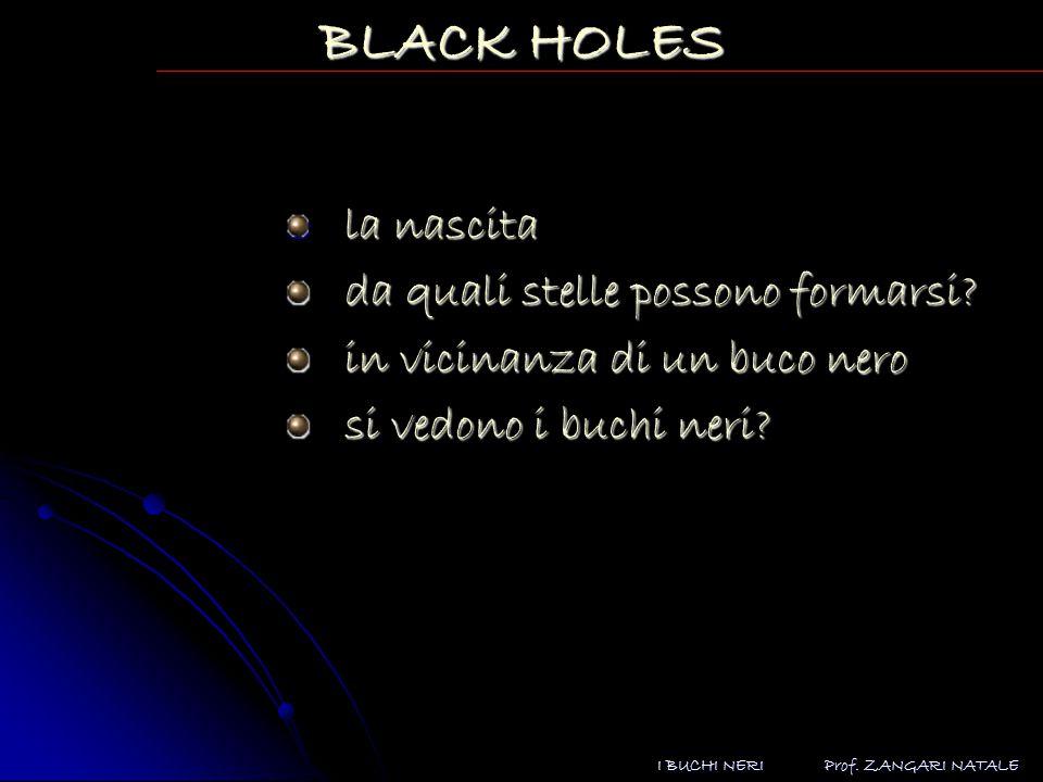 Prof.ZANGARI NATALE I BUCHI NERI BLACK HOLES la nascita da quali stelle possono formarsi.