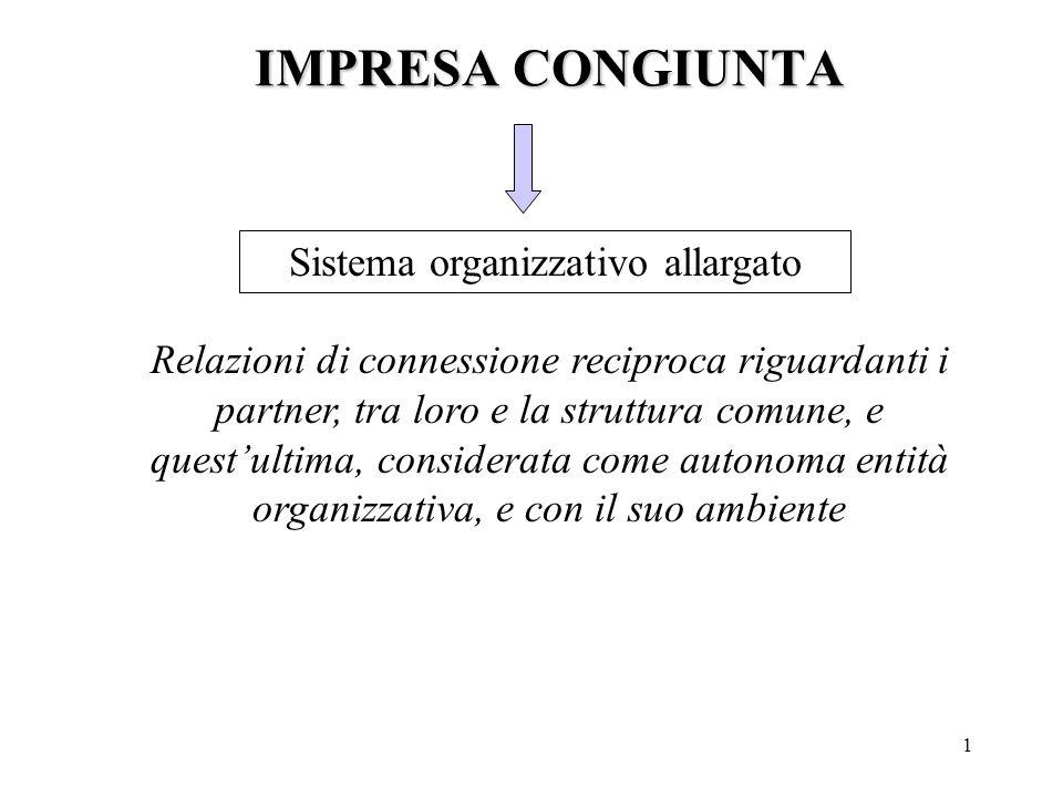 1 IMPRESA CONGIUNTA Sistema organizzativo allargato Relazioni di connessione reciproca riguardanti i partner, tra loro e la struttura comune, e quest'ultima, considerata come autonoma entità organizzativa, e con il suo ambiente