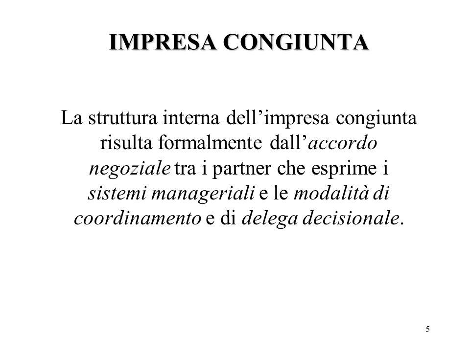 5 La struttura interna dell'impresa congiunta risulta formalmente dall'accordo negoziale tra i partner che esprime i sistemi manageriali e le modalità di coordinamento e di delega decisionale.