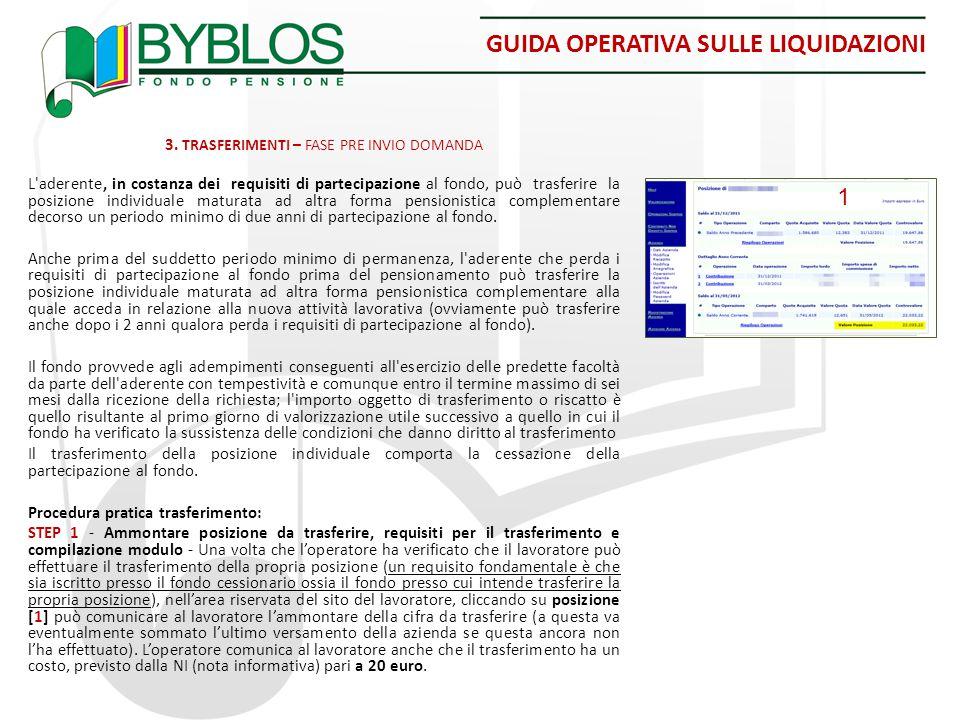 GUIDA OPERATIVA SULLE LIQUIDAZIONI 3. TRASFERIMENTI – FASE PRE INVIO DOMANDA L'aderente, in costanza dei requisiti di partecipazione al fondo, può tra