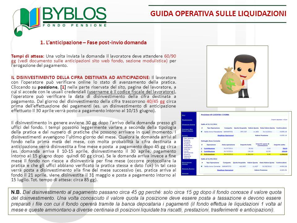 GUIDA OPERATIVA SULLE LIQUIDAZIONI 1. L'anticipazione – Fase post-invio domanda Tempi di attesa: Una volta inviata la domanda il lavoratore deve atten