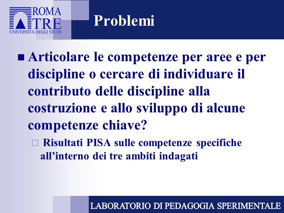 Problemi Articolare le competenze per aree e per discipline o cercare di individuare il contributo delle discipline alla costruzione e allo sviluppo d