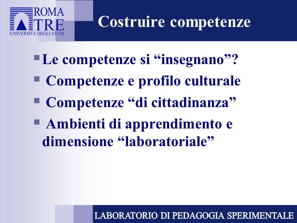 """Costruire competenze  Le competenze si """"insegnano""""?  Competenze e profilo culturale  Competenze """"di cittadinanza""""  Ambienti di apprendimento e dim"""