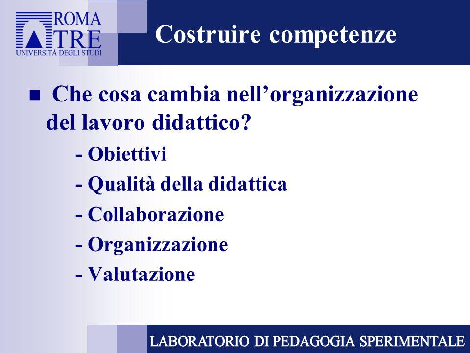 Costruire competenze Che cosa cambia nell'organizzazione del lavoro didattico? - Obiettivi - Qualità della didattica - Collaborazione - Organizzazione