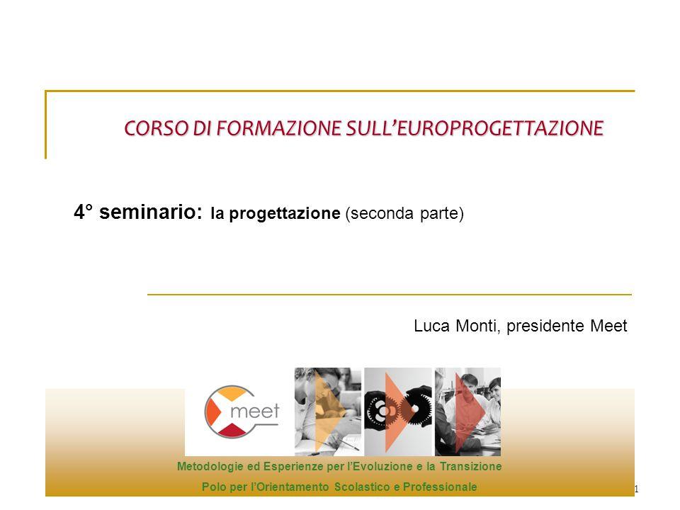1 Luca Monti, presidente Meet CORSO DI FORMAZIONE SULL'EUROPROGETTAZIONE 4° seminario: la progettazione (seconda parte) Metodologie ed Esperienze per