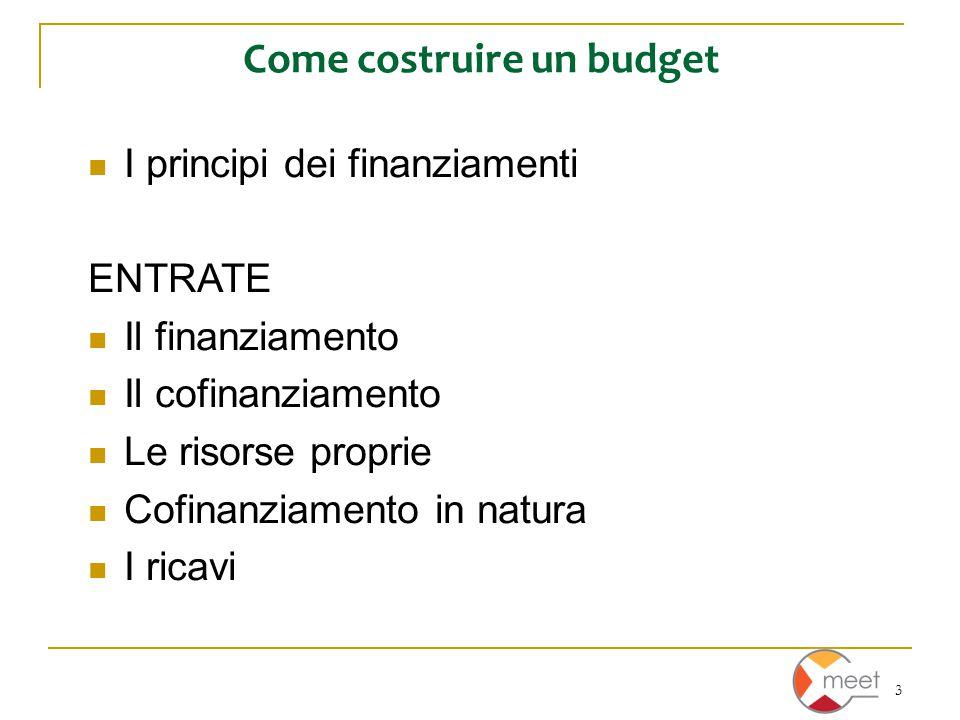 3 Come costruire un budget I principi dei finanziamenti ENTRATE Il finanziamento Il cofinanziamento Le risorse proprie Cofinanziamento in natura I ric