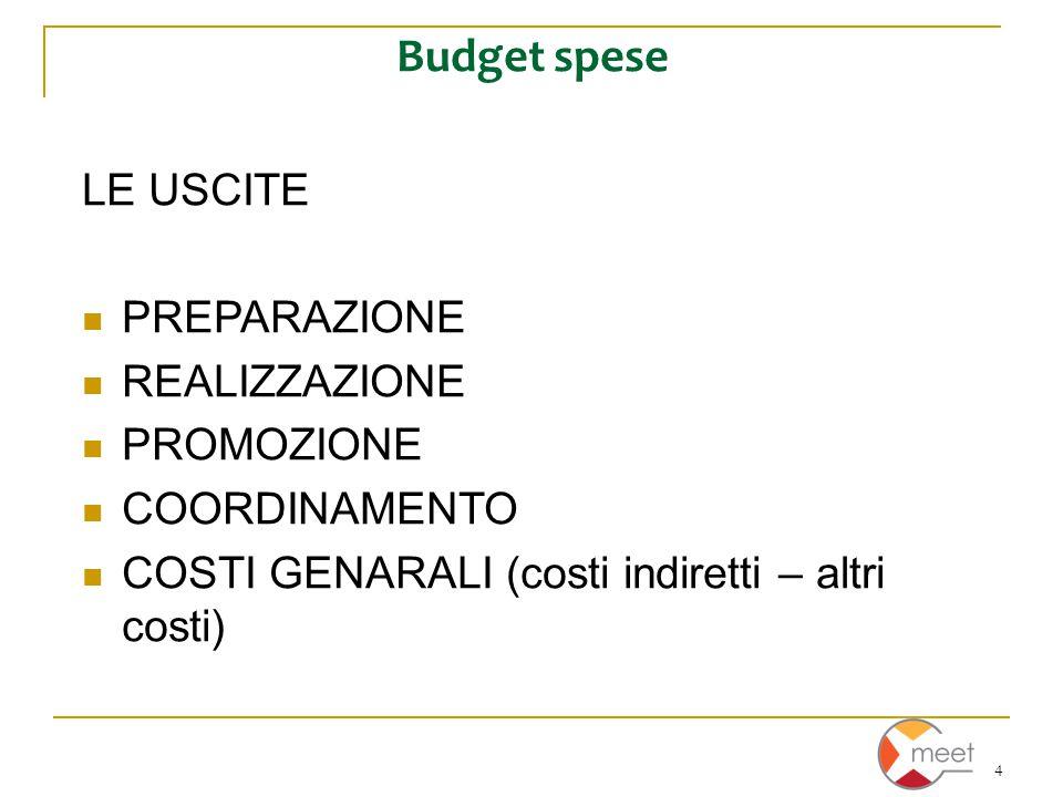4 Budget spese LE USCITE PREPARAZIONE REALIZZAZIONE PROMOZIONE COORDINAMENTO COSTI GENARALI (costi indiretti – altri costi)
