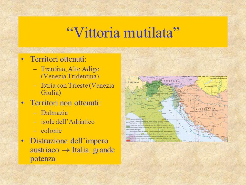 """""""Vittoria mutilata"""" Territori ottenuti: –Trentino, Alto Adige (Venezia Tridentina) –Istria con Trieste (Venezia Giulia) Territori non ottenuti: –Dalma"""