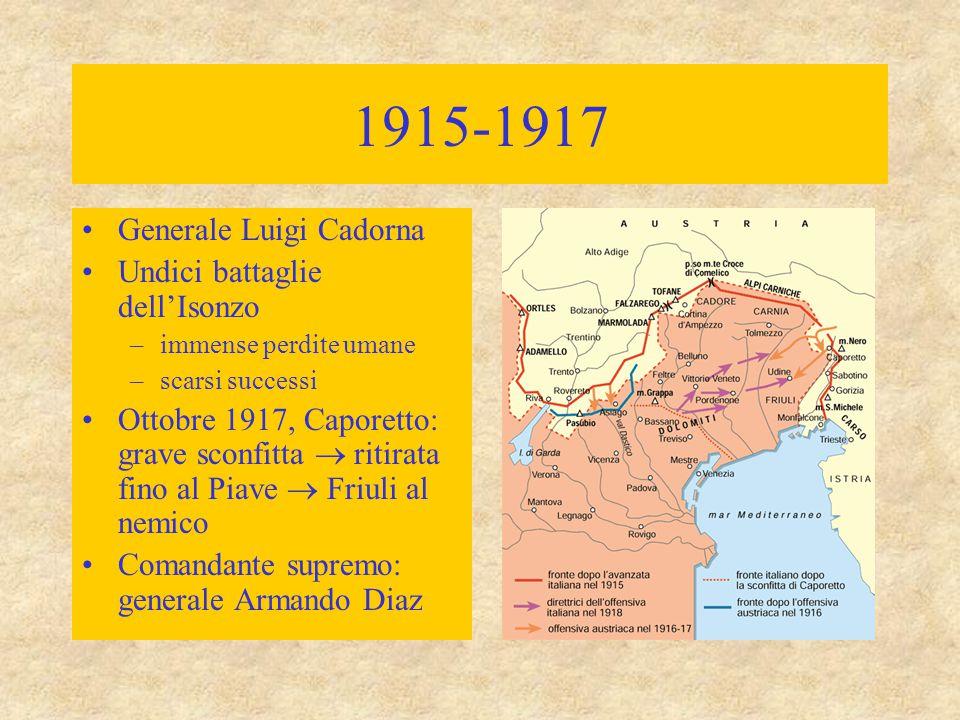 1915-1917 Generale Luigi Cadorna Undici battaglie dell'Isonzo –immense perdite umane –scarsi successi Ottobre 1917, Caporetto: grave sconfitta  ritir