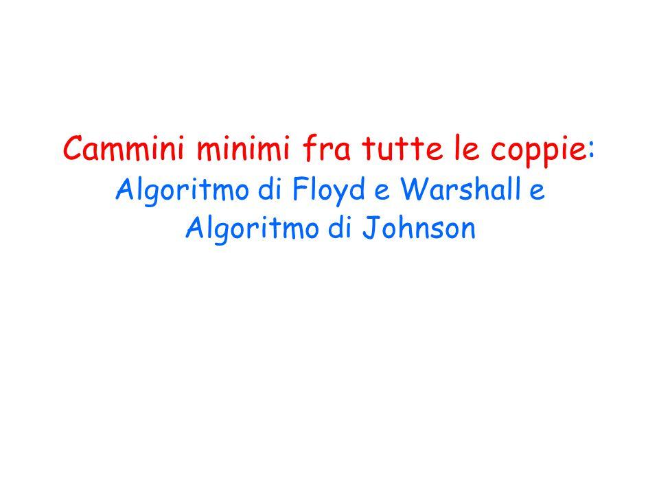 Algoritmo di Johnson Idea: rendere i pesi non negativi e poi applicare n volte l'algoritmo di Dijkstra