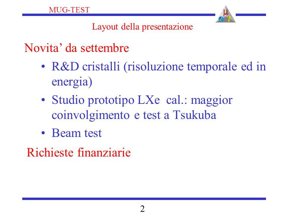 MUG-TEST 2 Layout della presentazione R&D cristalli (risoluzione temporale ed in energia) Studio prototipo LXe cal.: maggior coinvolgimento e test a Tsukuba Beam test Novita' da settembre Richieste finanziarie