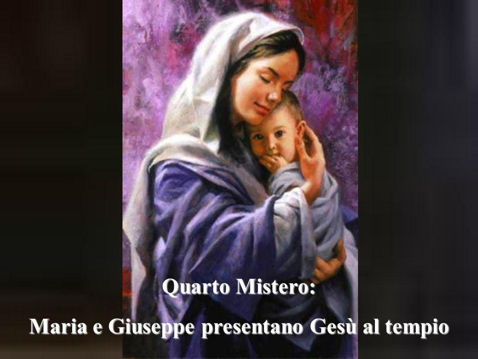 Quarto Mistero: Maria e Giuseppe presentano Gesù al tempio