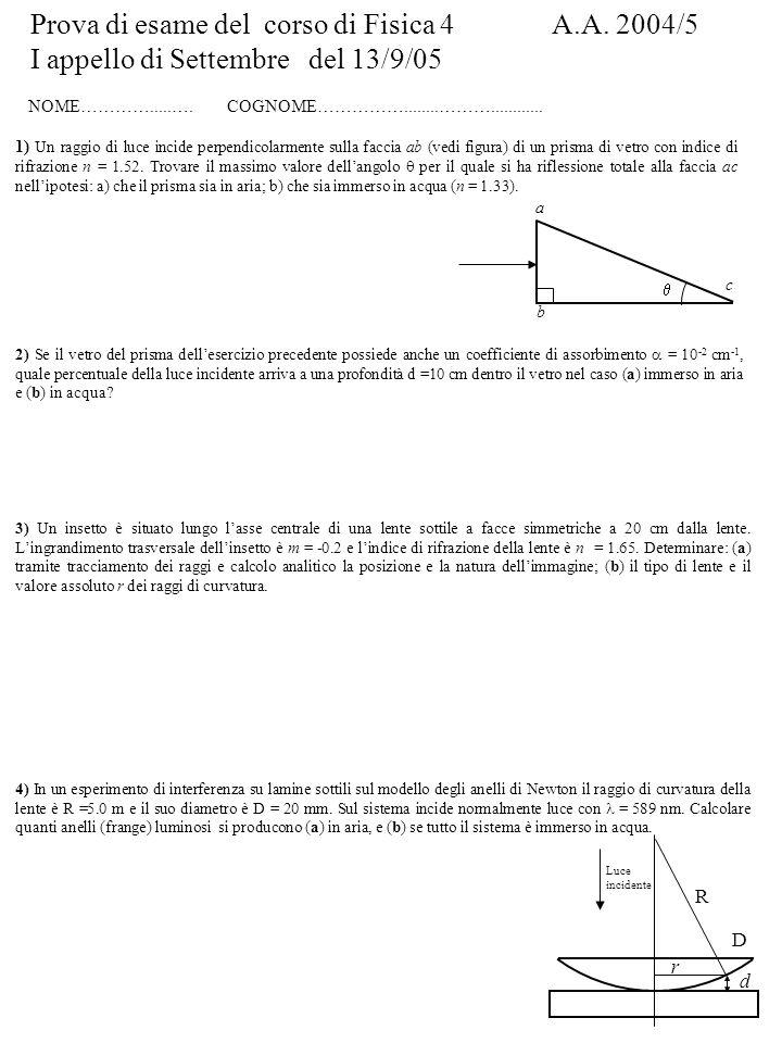 Prova di esame del corso di Fisica 4 A.A. 2004/5 I appello di Settembre del 13/9/05 NOME………….....….