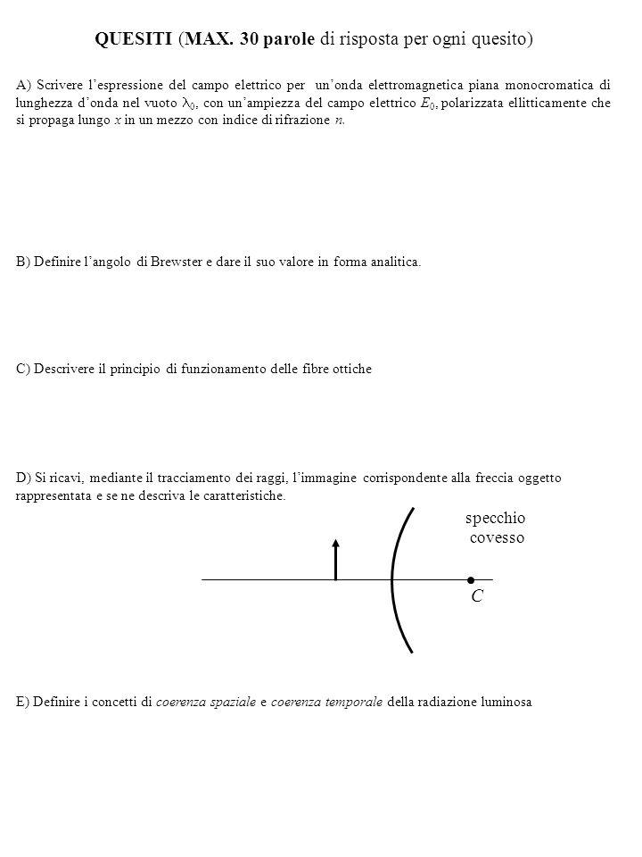 Corso di Fisica 4 - Soluzioni I appello di Settembre 2) 3) 1) in acqua: dalla condizione di angolo limite in aria si ha: in aria: in acqua: immagine reale, lente convergente dall'eq.