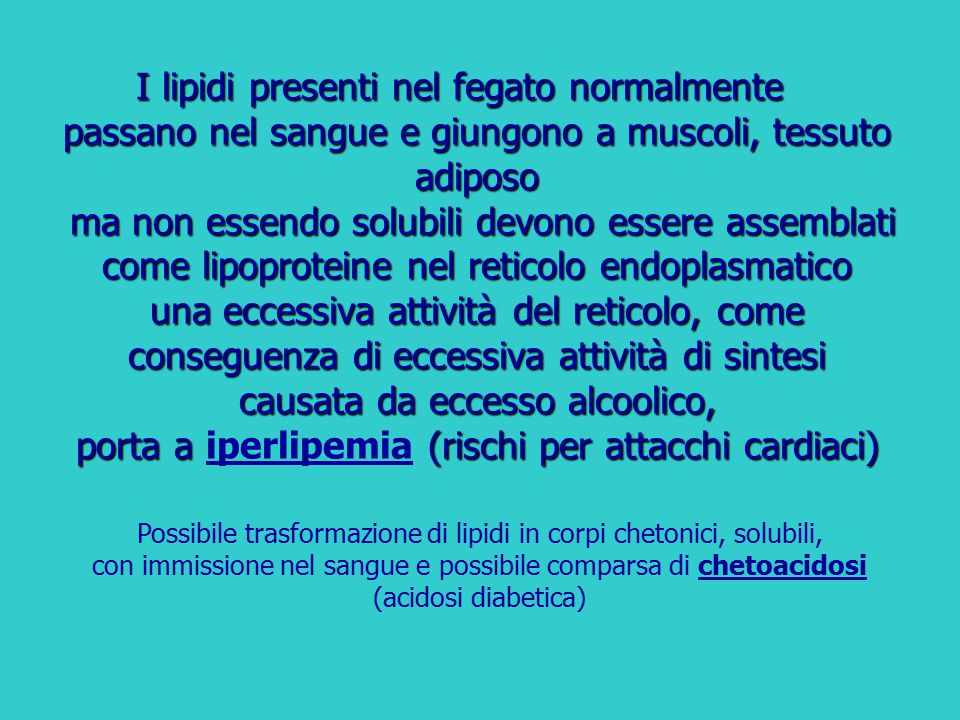 I lipidi presenti nel fegato normalmente passano nel sangue e giungono a muscoli, tessuto adiposo ma non essendo solubili devono essere assemblati com