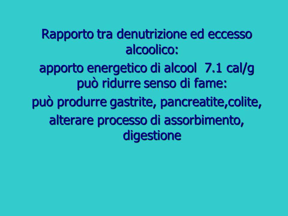 Rapporto tra denutrizione ed eccesso alcoolico: apporto energetico di alcool 7.1 cal/g può ridurre senso di fame: può produrre gastrite, pancreatite,c