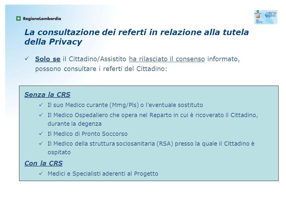 La consultazione dei referti in relazione alla tutela della Privacy Solo se il Cittadino/Assistito ha rilasciato il consenso informato, possono consul