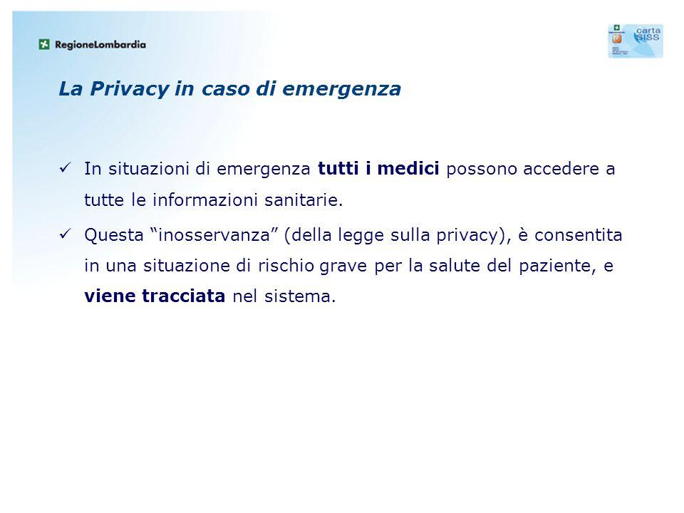 """La Privacy in caso di emergenza In situazioni di emergenza tutti i medici possono accedere a tutte le informazioni sanitarie. Questa """"inosservanza"""" (d"""