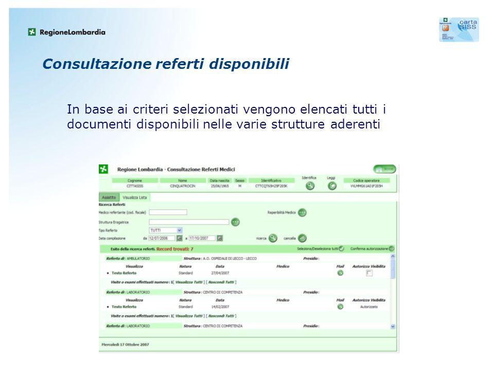 Consultazione referti disponibili In base ai criteri selezionati vengono elencati tutti i documenti disponibili nelle varie strutture aderenti