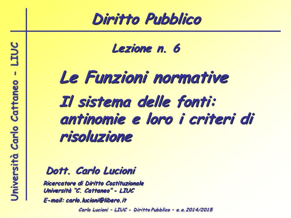 Carlo Lucioni – LIUC - Diritto Pubblico – a.a.2014/2015 Università Carlo Cattaneo - LIUC Le Funzioni normative Dott. Carlo Lucioni Ricercatore di Diri